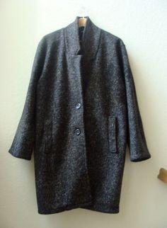 $68.99 VTG 80s 90s Tweed Cocoon Oversize Edgy Avant Garde Coat Jacket minimalist