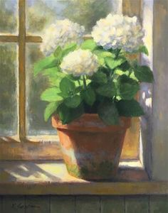 """Daily Paintworks - """"Hydrangeas in the Cottage"""" - Original Fine Art for Sale - © Linda Jacobus Watercolor Flowers, Watercolor Paintings, Abstract Paintings, Art Paintings, Painting Art, Landscape Paintings, Art Floral, Wallpaper Nature Flowers, Small Canvas Art"""