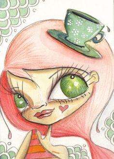 Green Tea by Kate Lightfoot - I don't exactly want to draw this girl, I do however want to try my hand at making her eyes though.