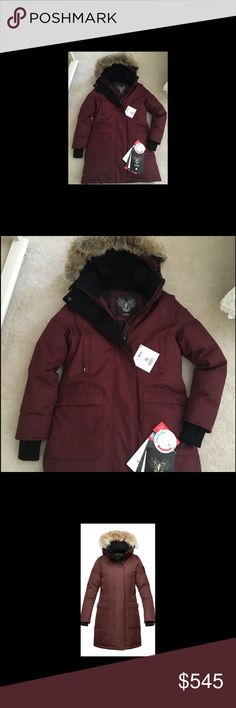 Nobis Merideth parka Brand new tags never worn Nobis Meredith coat with fur hood. color is red rum size medium. Currently at Neiman Marcus Nobis  Jackets & Coats