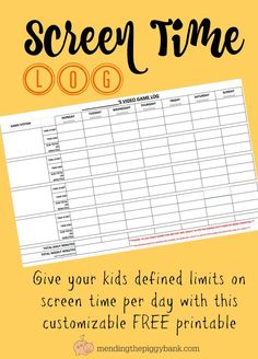 Screen Time Log for Kids -- Looking to find a way to take charge of your children's screen time / video game time that makes them accountable and also responsible for their own tracking? I have your solution right here!