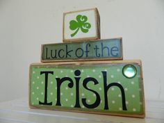 Wooden Blocks St Patricks day decoration for the by FayesAttic11, $19.00