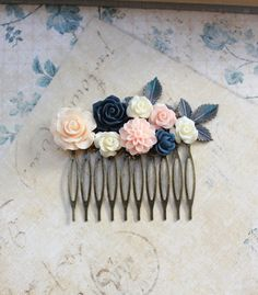 Flower Hair Comb Navy Blue Rose Floral Collage by apocketofposies