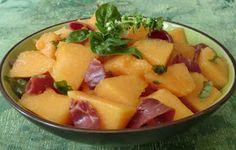 Ma petite cuisine gourmande sans gluten ni lactose: Salade de melon au basilic et au magret de canard séché