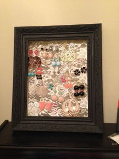 Black Jewelry Frame Earring Holder With Lace