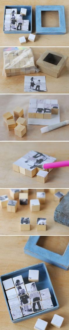 28 Creative Handmade Photo Crafts with Tutorials Photo Puzzle Blocks. These photo puzzle blocks serve as a great visual reminder of the one you love. Cool DIY gift ideas for Father's Day, Mother's Day and more. Fathers Day Photo, Fathers Day Crafts, Fathers Gifts, Fun Crafts, Diy And Crafts, Crafts For Kids, Puzzle Crafts, Baby Crafts, Photo Craft