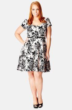 cb9c97d0ff0d4 City Chic Flock Print Fit   Flare Dress (Plus Size)