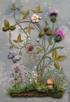 Объемная вышивка Розы Андреевой - Ярмарка Мастеров - ручная работа, handmade