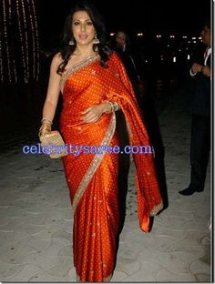 Pooja Bedi in Orange Raw Silk Bandhini Saree at Mallika and Siddhardha Reddy Wedding Party | Saree Blouse Patterns