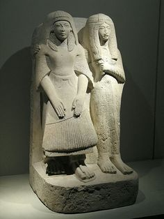 Double statue of Amenemipet and his wife. 19th Dynasty from Saqqara.