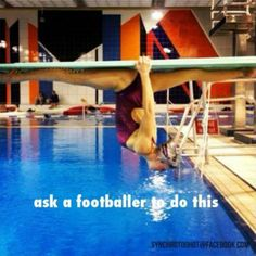 OH MY GOSH WE HAVE TO TRY THIS!! Except the life guard yells at us if we hang on the diving board but it would be an amazing stretch. Having to do the splits against gravity