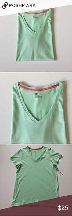 """NWT HUE Green Short Sleeved Sleep Shirt Soft and comfortable short sleeved, V neck sleep shirt. Shirt seems to be oversized. Please check measurements. 60% cotton, 40% modal. About 19"""" from armpit to armpit. 26"""" long. Not from a smoke free house. HUE Intimates & Sleepwear Pajamas"""