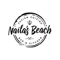 Naila's Beach Bar & Kitchen - logo for a Fusion Beach Bar and Kitchen opening up on a world famous destination resort island. Bar Logo, Seal Design, Label Design, Graphic Design, Logo Restaurant, Strand Logo, Kitchen Logo, Bar Kitchen, Resort Logo
