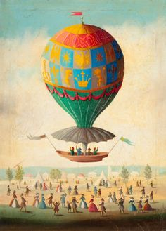 Attributed to VICTOR PHILIPPE LEMOINE-BENOIT (French, 1831-1850).Bidding Farewell in a Hot Air Balloon.