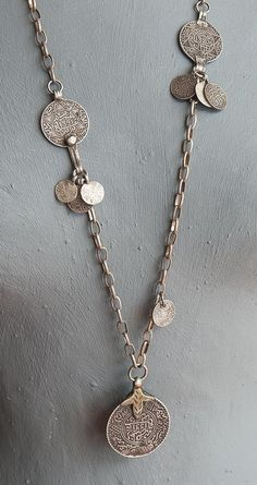 Long Moroccan Coin Necklace / Antique by AngelaLovettDesigns jewellery Coin Jewelry, Coin Necklace, Tribal Jewelry, Jewelry Necklaces, Necklace Ideas, Long Silver Necklace, Silver Jewelry, Silver Ring, Silver Earrings