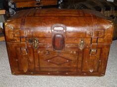 Romadka Sole Leather Antique Trunk See more trunks, get information, and purchase one of these at hmsantiquetrunks.com