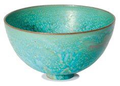 "Gertrud & Otto Natzler Bowl Executed 1960 Glazed ceramic Signed ""Natzler"" and retains inventory label ""L047"" 3.625"" x 6.5"" diameter"