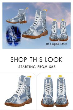 """Blue White Tiger Boots"" by beoriginalstore ❤ liked on Polyvore featuring Boots, erikakaisersot and beoriginalstore"