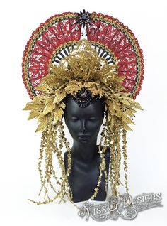 Red Fan Headdress Headpiece SALE PRICE by MissGDesignsShop on Etsy
