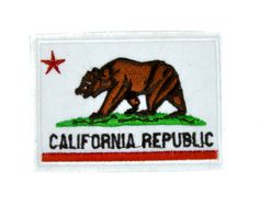 - California State Flag Applique Iron On Patch - 100% Cotton - Well made, greatly embroidered and neatly stitched. - Just iron on any fabric you like - Turn your ordinary clothes or bags into somethin