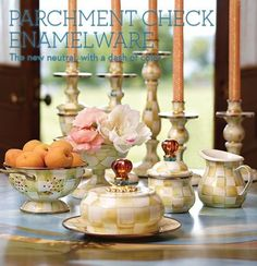 MacKenzie-Childs Parchment Check Enamelware has arrived!