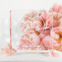 """Personalized Cake Topper - Acrylic 4""""x 3/4""""x4"""" Personalized with your names and date as shown.  $26 personalization included"""