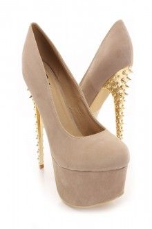 Taupe Faux Suede Spike Carved Pump Heels