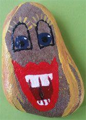 Ein Lachstein aus Main-Flußkiesel, handgemalt. Ronald Mcdonald, Fictional Characters, Art, Angel, Handmade, Stones, Projects, Art Background, Kunst