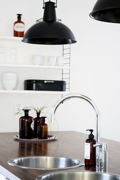 Kitchen details - really like the brown bottles