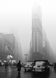 """photo-reactive:  """"""""Fred Stein, Times Square Rainy Day, New York, 1949.  """" """""""