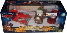 Disney / Pixar CARS Movie 155 Die Cast Exclusive 3Pack Mater Saves Christmas Santa Car, WheeHoo Winter Mater Holiday Hotshot Lightning McQueen by Mattel. $46.95. limited toys r us exclusive. Mater Saves Christmas! Set includes Santa Car, WheeHoo Winter Mater, Holiday Hotshot Lightning McQueen