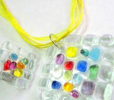 Conjunto de Bijuteria de Vidro transparente / colorido torçal encerado e organza amarela 45 cm c/ extensor anel base niquel n 20 -   Peça exclusiva  MAIS BIJUTERIAS DE VIDRO: http://www.elo7.com.br/glassbijoux/ . . . R$ 38,00