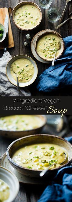 7 Ingredient Vegan Broccoli Cheese Soup - SO thick, rich and creamy you would never know it's dairy free, gluten free and healthy! It's ready in only 15 minutes and SO easy to make! | http://Foodfaithfitness.com | /FoodFaithFit/