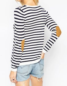 Image 3 ofASOS Jumper In Stripe With Oval Tan Suede Elbow Patch