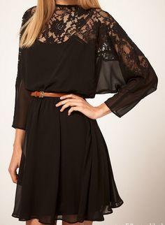 Black Batwing Sleeve Contrast Lace Chiffon Dress