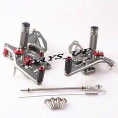 Aluminum Rear Ajustable Foot Pegs Set Fits Kawasaki Ninja 250R 2008-2012 Gray