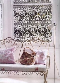 stenciling on glass to provide privacy - this is painted with acrylics, can also etch - lace curtain effect - shabby chic, vintage, cottage, country - window, curtain