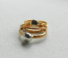 14 Karat Gold Stacking Ring with Silver Ball, simple gold ring, so pretty! I want!