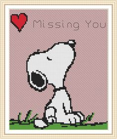 Snoopy Missing You Cross Stitch Chart