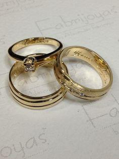 Juego de argollas y anillo con diamante oro amarillo 18k. ( Fabrijoyas)