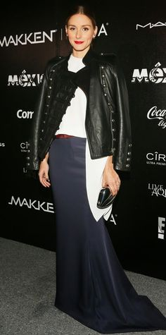 THE OLIVIA PALERMO LOOKBOOK red belt red lips white top navy skirt black jacket