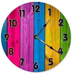 "COLORED WOOD BOARDS CLOCK Decorative Round Wall Clock Home Decor Large 10.5"" Unique Clocks COLORFULL"