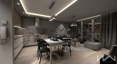 Project apartment Gdynia Wiczlino - Part 2 on Behance Living Room Interior, Home Interior Design, Cool House Designs, Apartment Design, Small Apartments, Living Room Designs, Beautiful Homes, Kitchen Design, Home Goods