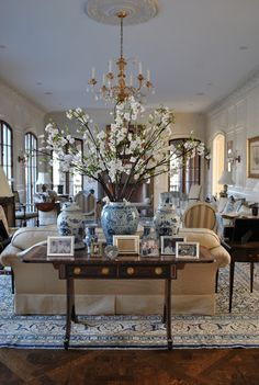 Gorgeous blue and white living room! The Enchanted Home