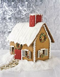 Snowy roofed gingerbread house