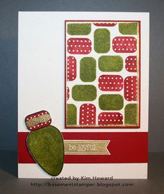 Card details: Stamps: Lights4Christmas from The {Stamps} of Life Cardstock: Cherry Cobbler, Whisper White Inks: Cherry Cobbler, Always Artichoke Embellishments: Gold embossing powder