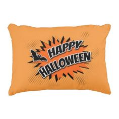 #Happy Halloween Accent Pillow - #halloween #party #stuff #allhalloween All Hallows' Eve All Saints' Eve #Kids & #Adaults