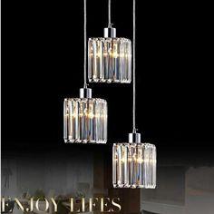 Pendant Lamp Three Lights Crystal Pendant Lamps Dining Room Linear Suspension Lights Led Pendant Lights Luminaire E27