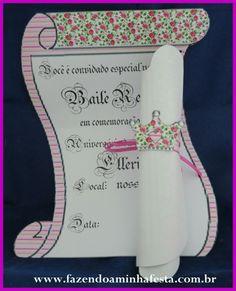 Lindo molde de convite para Princesas! Convite para o Baile Real!!!