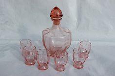 Vintage pink blush glass decanter 6 glasses set 1960s shot
